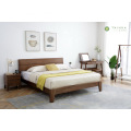 Dark Brown Rubber Solid Wood King Bed