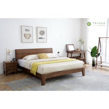 Madilim na Brown Goma Solid Wood King Bed