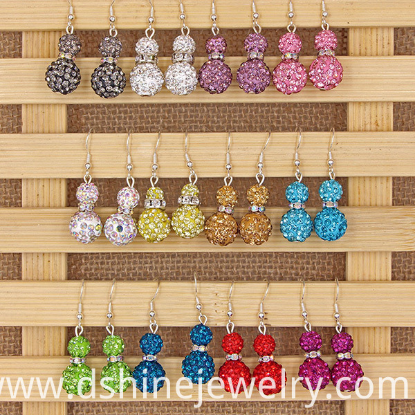 Double Beads Shamballa Earrings