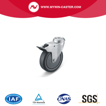 Braked Bolt Hole Swivel TPE Institutional Caster