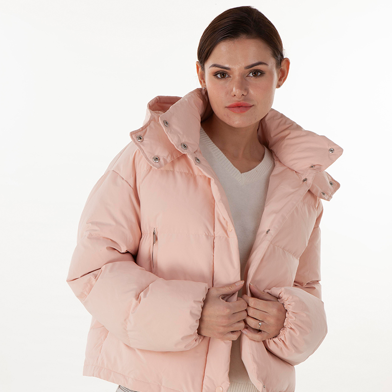 Pink press zipper style down jacket