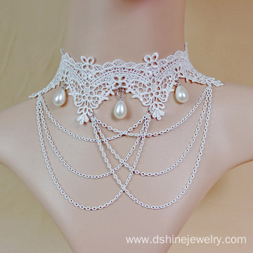 Lace Fancy Choker Necklace Chain Tassel Wedding Jewellery