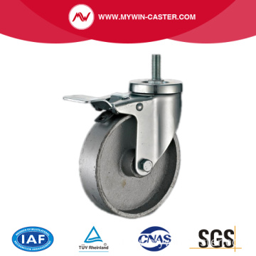 Threaded Stem Dual Braked Cast Iron Industrial Casters