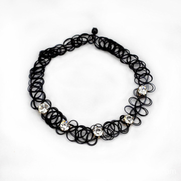 Crystal Rhinestone Elastic Black Tattoo Choker Necklace