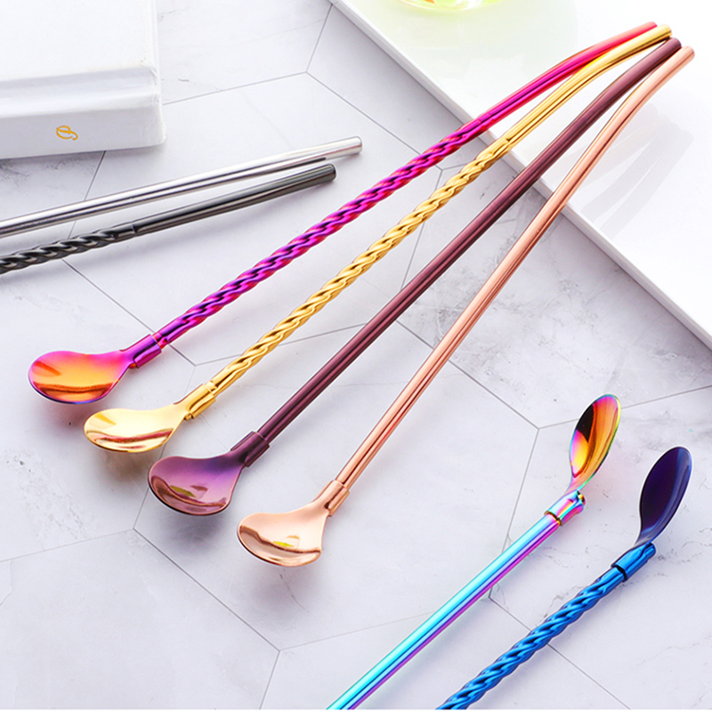 18/8 Simple Stainless Steel Straw Spoon