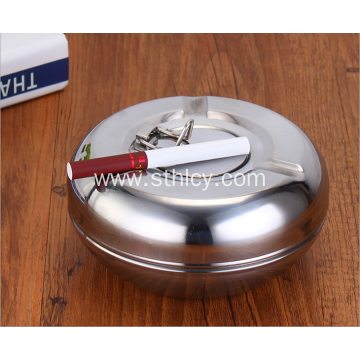 Stainless Steel Round Sealed Ashtray With Lid