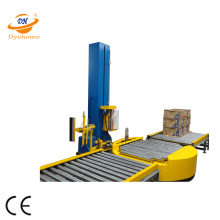 Turntable infeed conveyor pallet wrapper