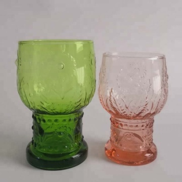 Apple Green Color Sunflower Glass Water Tumbler