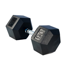 90LB Black Rubber Hex Dumbbell