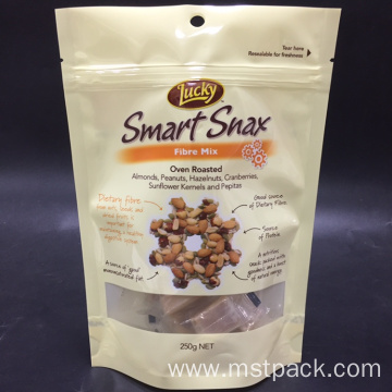 Plastic Stand Up Nuts Bag With Clear Windows