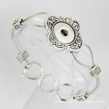 Ancient Silver Flower Chain Noosa Bangle Snap Button Bangle