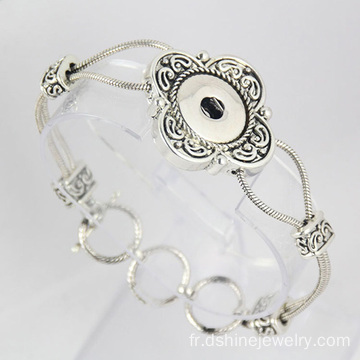 Antique Silver Flower chaîne Noosa Bangle bracelet de bouton pression