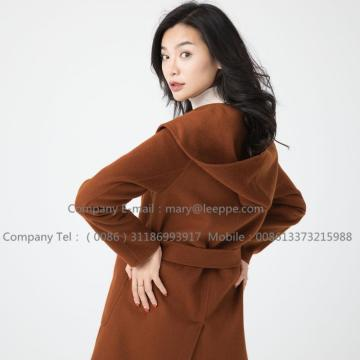Medium Hooded Cashmere Coat For Womem