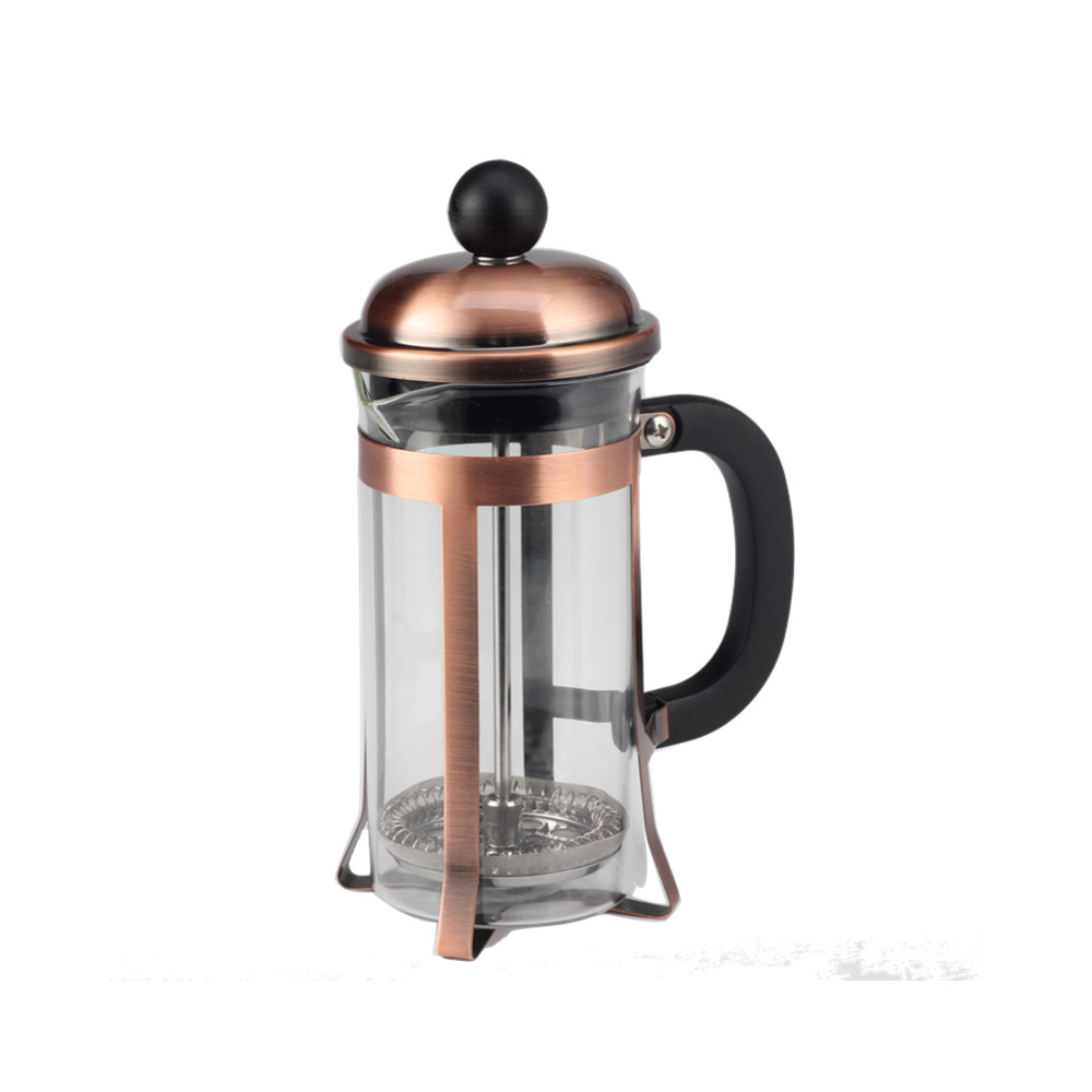 Hot Sell Iron Plating Frame Glass French Press
