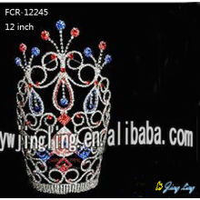 Europe style for for Pageant Crowns and Tiaras 12 Inch Colored Rhinestone Pageant Crown For Sale supply to Grenada Factory