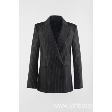 Black-white vertical stripe woven suit