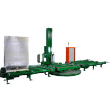 Fully automatic inline chain conveyor pallet wrapper