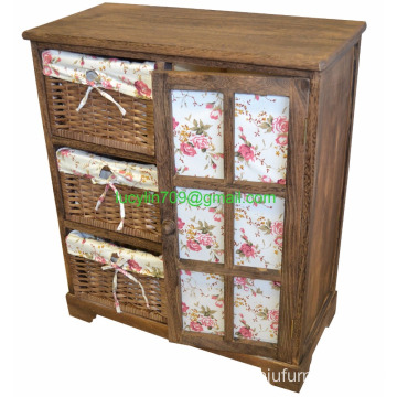 Brown Wood Shabby Chic Storage Unit Cupboard Wicker Drawers Baskets Floral Girly