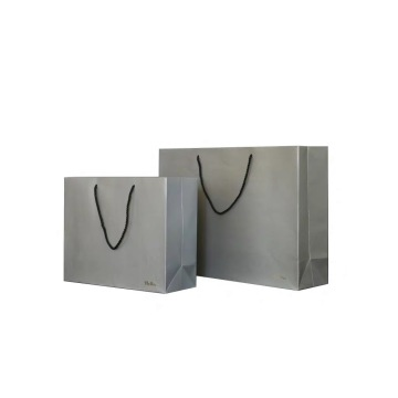 Grey Art Paper Bags With PP Handle