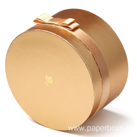 Metallic Gold Cosmetic Round Paper Box
