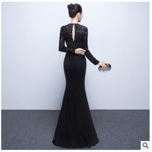 The new 2017 Long-Sleeved Elegant Nobility Fishtail Gown Party Long Spring And Summer Dress