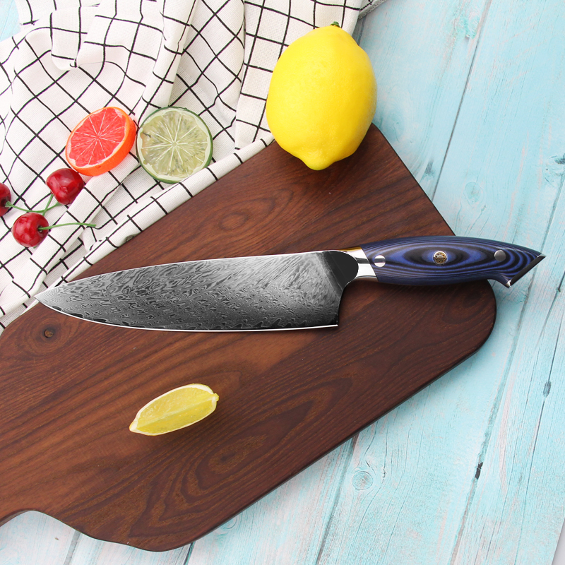 Colorful G10 Handle Damascus Knife Kitchen