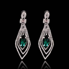 Green Crystal Charm Rhinestone Cubic Zirconia Earrings