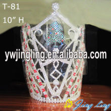 "Quality for Snowflake Round Crowns Custom Big Size 10"" Christmas Pageant Crowns supply to Tokelau Factory"