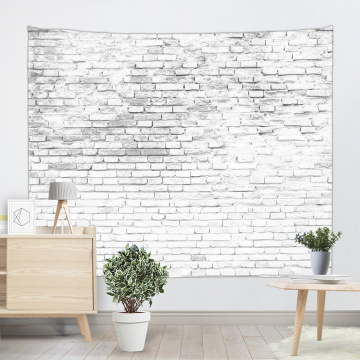 Brick Wall Tapestry White Stone Tapestry Wall Hanging Vintage Tapestry Polyester Print for Livingroom Bedroom Home Dorm Decor