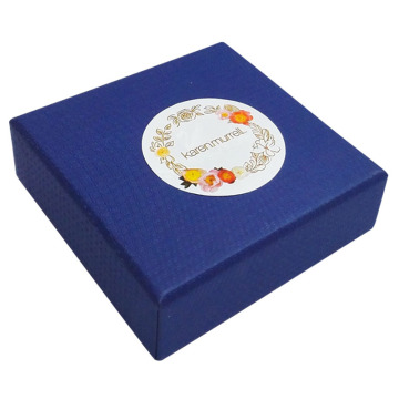 Navy blue cardboard jewelry ring box