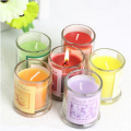 Essential oils branded scented candles with glass jar