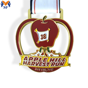 Custom gold metal apple race medal