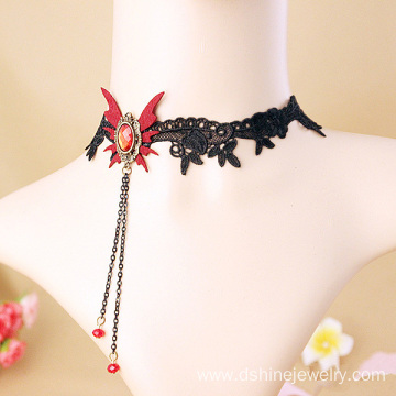 Lace Neck Chokers With Chain Tassel Gothic Collar Necklace