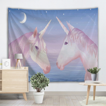Two Unicorns Tapestry Pink Blue Wall Hanging Animal Love Tapestry for Livingroom Bedroom Home Dorm Decor