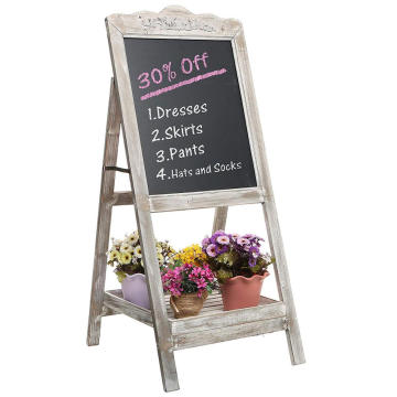 Decorative Vintage White Washed Brown Wood Large Freestanding Chalkboard Message Board Easel