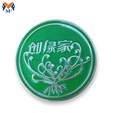 Metal logo round badge holder for handbags