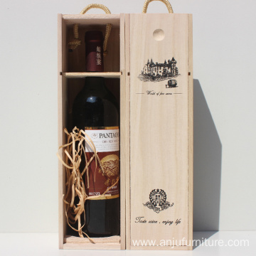 Factory Price pine paulownia Single wooden Wine Box