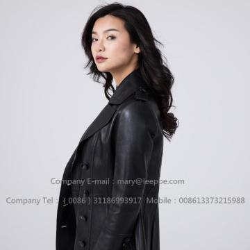 Sheepskin Leather Lady Jacket In Winter