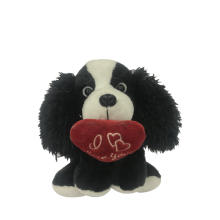 Plush Dog In Black With Heart