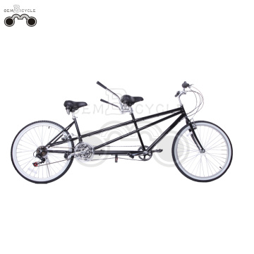 26 Inch black tandem bike for 2 people
