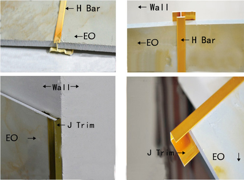 Decorative metal aluminium tile trim corner strips