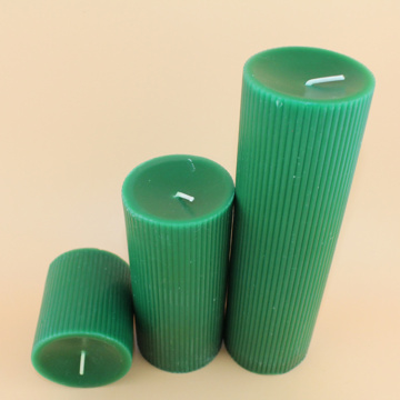 Dark Green Smokeless Pillar Fluted Wax Candles