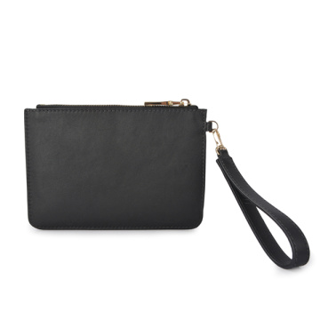 Cosmetic Purse Vegan Leather Black Essential Leather Clutch