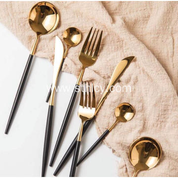 Black Gold Electroplating Stainless Steel Flatware Set