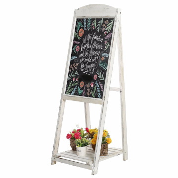 Best Price for Chalkboard Board foldable 2/3 Tier A-Frame Wood Garden Plant Flower Pots Shelf With Blackboard supply to French Guiana Wholesale