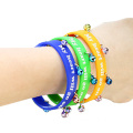 Printed Silicone Band With Bell Pendant Heart Bracelet