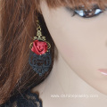 Black Lace Earrings For Women With Rose Alloy Hook Earring