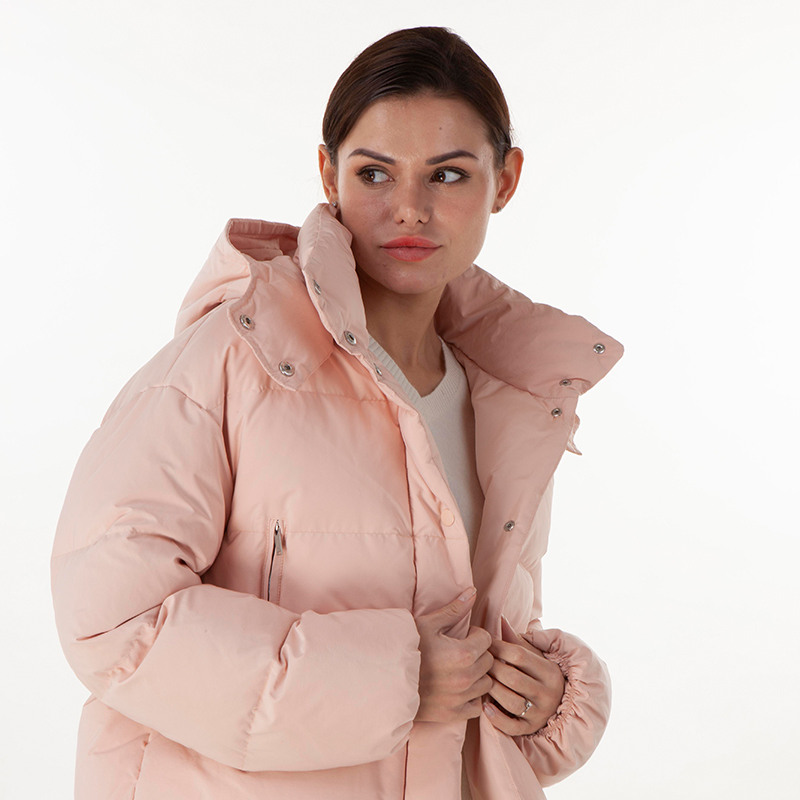 Pink hooded down jacket