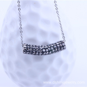 DIY Shamballa Rhinestone Tube Pendants Chain Necklace
