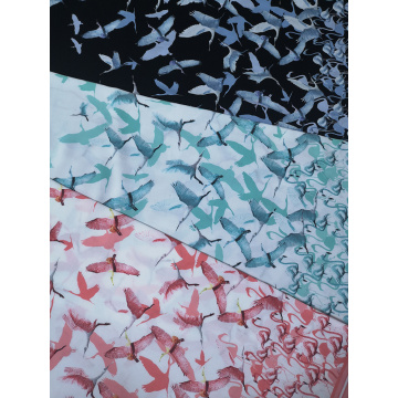Birds Rayon Challis 30S Air-jet Printing Fabric